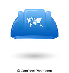 Blue work helmet wit a world map