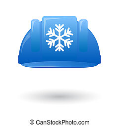 Blue work helmet with a snow flake - Illustration of an...