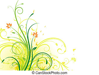 floral abstract background - illustration of Grunge Floral...
