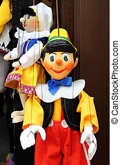 Pinocchio, the italian wooden puppet - A smiling Pinocchio,...