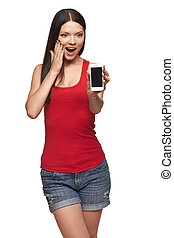 Excited surprised woman showing cell phone with black screen...