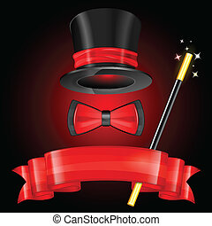Magician Hat with Magician Wand, Bow Tie and Ribbon, vector...