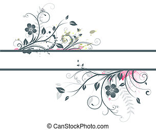 Floral Decorative banner - illustration of style Floral...