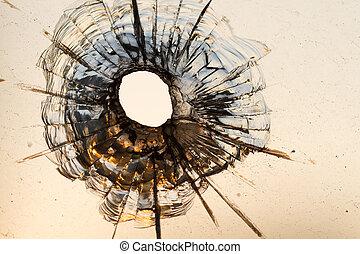Bullet hole in a window