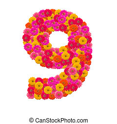 number 9 made from Zinnias flowers