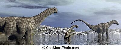 Argentinosaurus, dinosaurios, familia, -, 3D, render