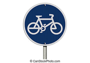 Bike Route Sign, An blue road sign with bike icon isolated...