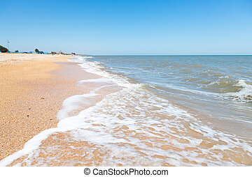 beach of Sea of Azov in resort village Golubickaya - sand...