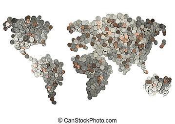 mapa, branca, feito, isolado, moedas