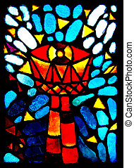 Stained glass goblet. - Colorful stained glass goblet.