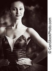vintage ballet portrait - Vintage portrait of a beautiful...