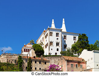 National palace of Sintra, Portugal - cityscape with...