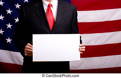 Politician holding Blank Sign - A politician or business man...