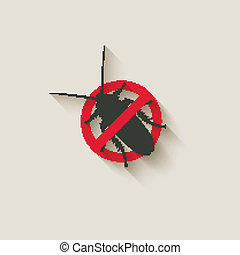 cockroach warning sign - vector illustration. eps 10