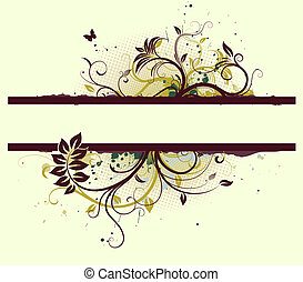 Floral Decorative banner - illustration of Grunge Floral...
