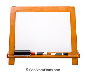 Blank Markerboard on white - A blank white markerboard on a...