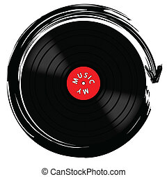 Vinyl record-LP - Illustration of a gramophone record as...