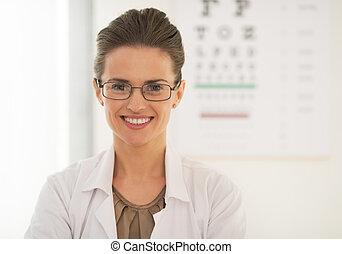 Doctor woman in eyeglasses in front of snellen chart