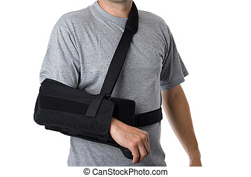 Man wearing an arm brace over white