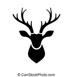 Deer Head Icon Vector Logo - Deer Head Icon on white...