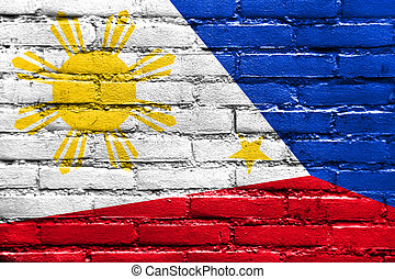 Philippines Flag painted on brick wall