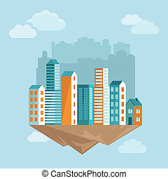 Vector city concept in flat style - cartoon illustration...