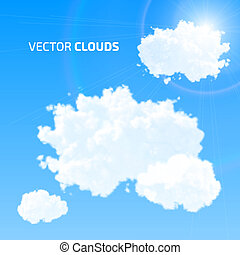 Vector cloud set. Blue sky with clouds and flare.