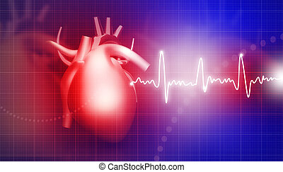Human heart on medical background