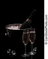 Bottle of champagne in bucket isolated with deco diamonds -...
