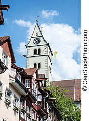 Historic Meersburg - Old houses around the church in...