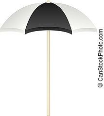 Beach umbrella in black and white design on white background