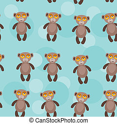 Seamless pattern with funny cute monkey animal on a blue backgro