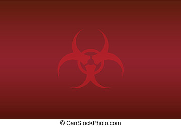 red biohazard sign on crimson background for wallpaper
