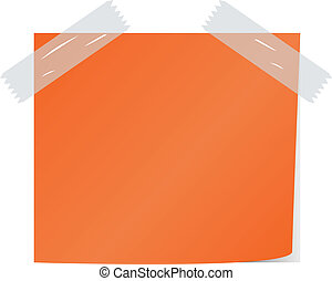 blank orange color post it vector