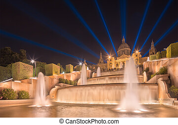 night view of Magic Fountain in Barcelona - night view of...