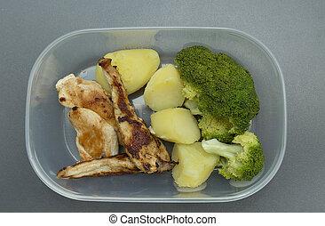 sano, alimento, tupperware