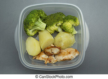 Healthy food in tupperware - Chicken, boiled potatoes and...