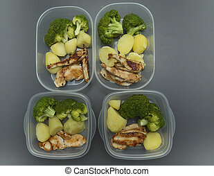 Healthy meal in tupperware - Chicken, boiled potatoes and...