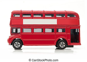 London bus - Red London double decker bus over a white...
