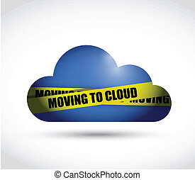 moving to cloud sign illustration design over a white...