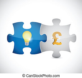 puzzle pieces light bulb and pound illustration