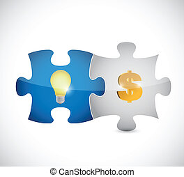 puzzle pieces light bulb and dollar illustration