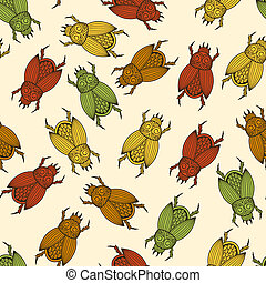 Vector seamless pattern with scarab beetles, fully editable...