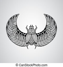 Vector scarab beetle, tattoo style, fully editable eps 10...