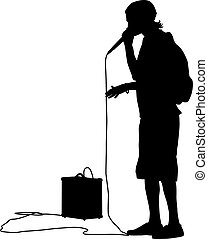 Silhouette of the guy  beatbox with a microphone. Vector illustr