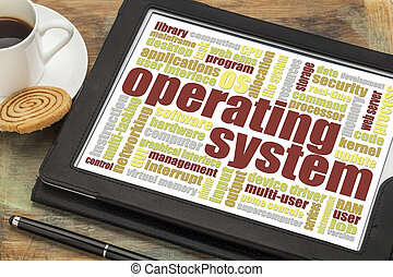 operating system word cloud on a digital tablet with a cup...