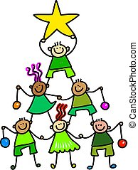 Christmas Tree Kids - Whimsical cartoon illustration of a...
