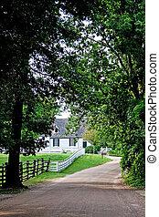 entrada carro, fazenda, casa