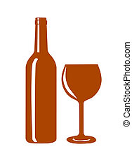 Wine bottle and wine glass silhouette