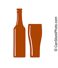 Beer bottle and glass silhouette